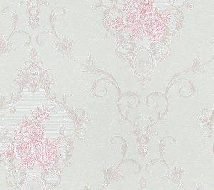 Papel De Parede 3d Vinílico Floral Rosa Texturizado + cola