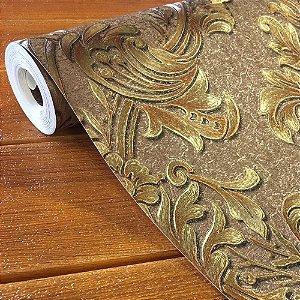 Papel de Parede Damask Marrom Dourado 3d Vinílico Texturizad