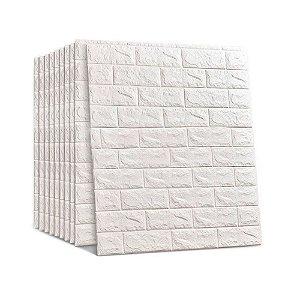 10 Pçs Painel Placa 3d Tijolo Branco Espuma Adesiva 70 X 76