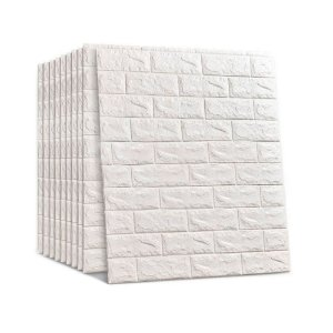 40 Pçs Painel Placa 3d Tijolo Branco Espuma Adesiva 70 X 76