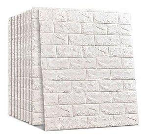 18 Pçs Painel Placa 3d Tijolo Branco Espuma Adesiva 70 X 76