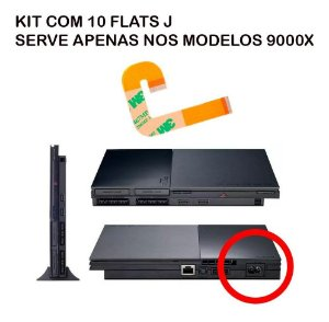 Kit De 50 Cabo Flat J Ps2 Slim 900xx Flex Playstation 2 Novo
