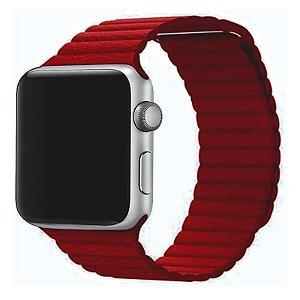 Pulseira Couro Loop Para Apple Watch 42/44mm Vermelho