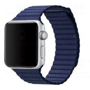 Pulseira Couro Loop Para Apple Watch 42/44mm Azul Top
