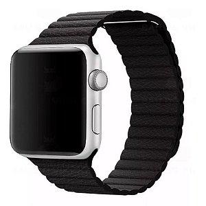 Pulseira Couro Loop Para Apple Watch 42/44mm Preta Top