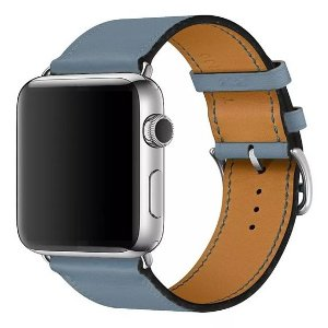 Pulseira Single Tour Couro P/ Apple Watch Azul 38/40mm