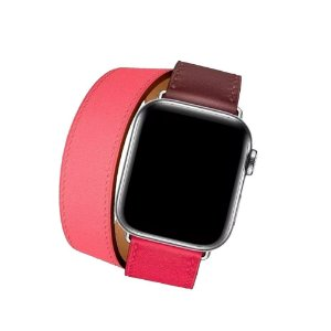 Pulseira Couro Double Tour P/ Apple Watch Rosa 42/44mm