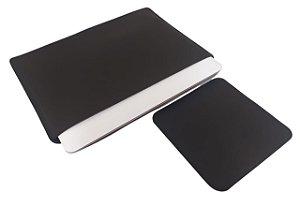 Capa para Notebook 15,6 Simples Couro Sintético Preto com Mouse Pad