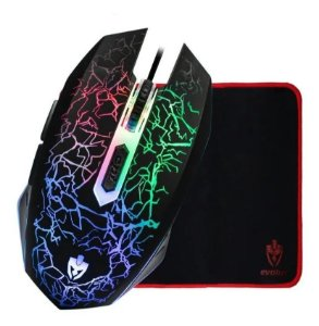 Kit Mouse Gamer Rayden + Mouse Pad Médio 25x21 cm