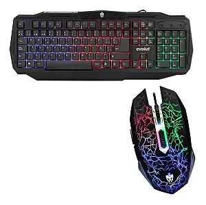 Kit Mouse Gamer  + Teclado Gamer Evolut