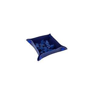 Bandeja de Peças em Couro Ecológico Azul 13x13