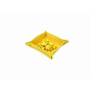 bandeja de Peças em Couro Ecológico Amarelo 13x13