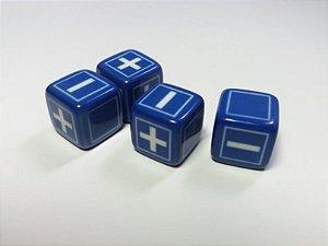RPG FATE - Dados 6 Faces, Kit com 4 unidades - Azul Minimalista