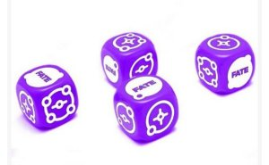 RPG FATE - Dados 6 Faces, Kit com 4 unidades - Roxo Orbital