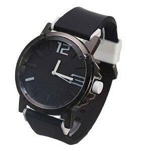 Relógio Quartz Masculino com Visor Redondo Pulseira de Silicone