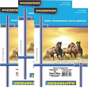 Papel Adesivo Fotográfico Glossy Masterprint 130g com 20 Folhas