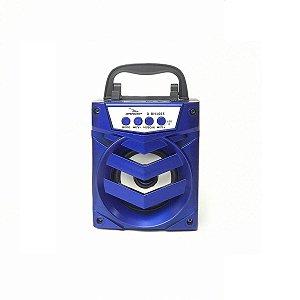 Caixa de Som Recarregável Bluetooh Usb Cartão SD Mp3 | GRASEP | AZUL