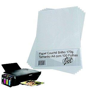 Papel Couche Brilho 170g A4 Embalagem Com 100 Folhas JEL