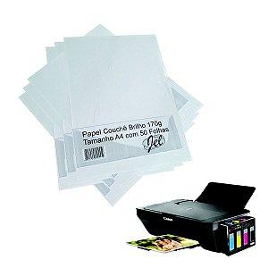 Papel Couche Brilho 170g A4 Embalagem Com 50 Folhas JEL