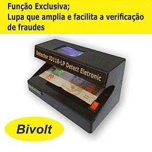 Detector de dinheiro falso,cartões e documentos falsos JD118-LP Detect Eletronic - Bivolt