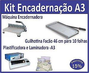 Kit Gráfica Rápida A3 - Plastificadora, Máquina de encadernar e Guilhotina. Grátis plásticos Polaseal.