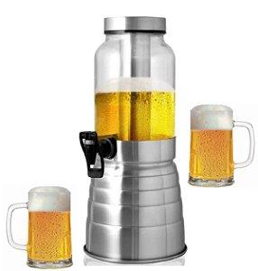 Torre De Chopp em Aço Escovado Chopeira Cervejeira Vidro 2.2 Litros