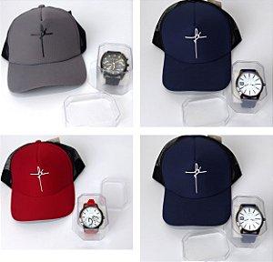 Kit 01 Relógio Quartz com Pulseira de Silicone + 01 Boné Aba Curva Fé Com Telinha