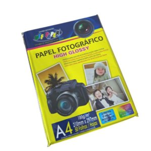 Papel Fotográfico A4 High Glossy 180g Off Paper 50 Folhas
