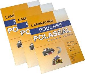Plástico Para Plastificação Polaseal Tamanho A3 Espessura 0,05 303x426mm 125 Micron Pacote com 100 plásticos
