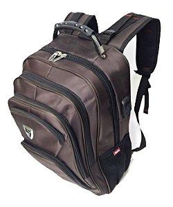 Mochila Executiva Ve Bags com Entrada para USB e Fone - Marrom