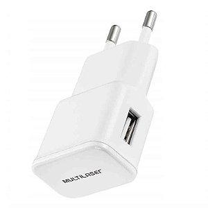 Carregador Multilaser p/ Parede/Tomada Smartogo USB Branco -