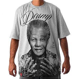 Camiseta Large Drump Masculina Nelson Mandela Mescla Cinza