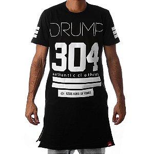 Camiseta Longline Drump Masculina 304 Preta Com Ziper