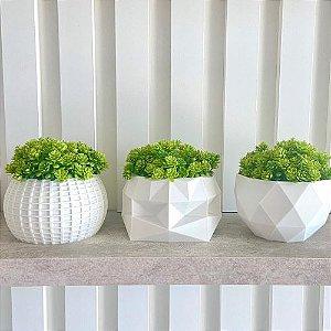 Trio vasos geométricos com plantinhas artificial