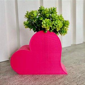 Vaso Coração com planta artifícial