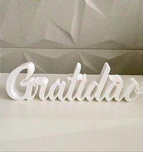 Palavra Gratidão impressão 3D