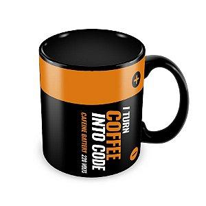 Caneca I Turn Coffee into Code Preta