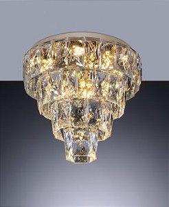 Plafon Fasano cristal LED 45cm dourado - bivolt.