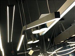 Pendente Linear V preto LED - 16w bivolt 3000k (luz amarela) (5367)