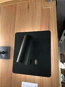 Arandela Cabeceira Luz Direta/Indireta + USB Preta - Casa do led (6255)