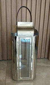 Lanterna Espelhada Cromada Alça em Couro Grande - Casa do LED (6468)