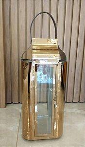 Lanterna Espelhada Rosé Alça em Couro Grande - Casa do LED (6469)