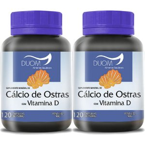 Kit 2 Und Cálcio de Ostras c/ Vit D 120cps 750mg Duom