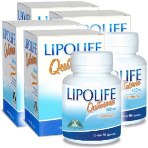 Kit 4 Und Quitosana Vit C Lipolife 90 caps 500mg