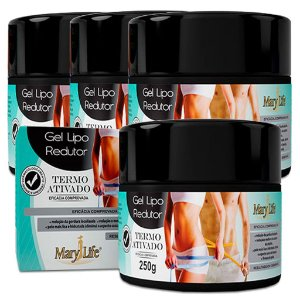 Kit 4 Und Gel Lipo Redutor Mary Life 250g