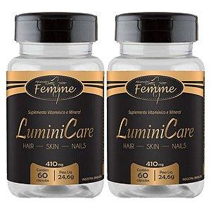 Kit 2 Und Lumini Care 60cps 410mg (Cabelo, Pele e Unhas) Apisnutri