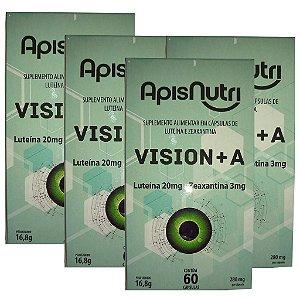 Kit 4 Und Luteína e Zeaxantina 60cps (Vision+A) Apisnutri