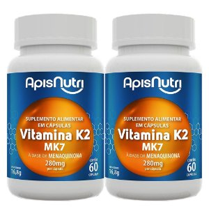 Kit 2 Und Vitamina K2 60cps 280mg Apisnutri