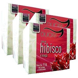 Kit 4 Und Chá de Hibisco com Maçã 10 Sachês Duom
