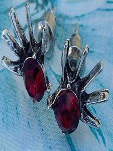 Brinco Bijuteria strass Vermelho  Formato De Mão Fashion